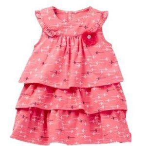 Petit Lem Girl's Ruffle Floral Dress Coral 9M NWT